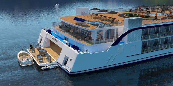 ヨーロッパのリバークルーズ船で世界初。開閉式のウォータースポーツプラットフォームと、サンダウナーモーターボートでアクティビティの範囲が広がります。