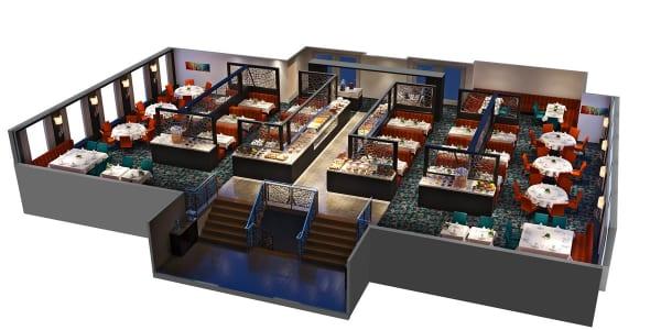 アママグナ号のメイン・レストランは、モダンなデザインでひじょうにゆったり。